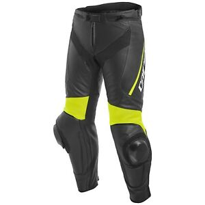 DAINESE-DELTA-3-LEATHER-MOTORCYCLE-PANTS-BLACK-FLUO-YELLOW