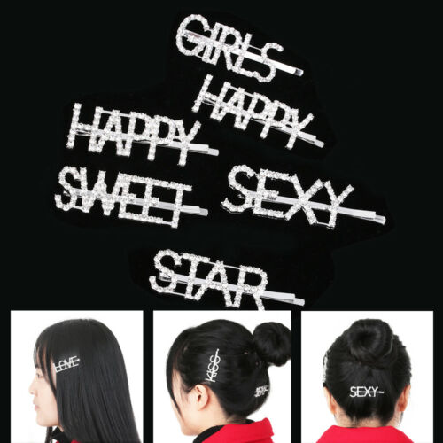 Glitter Women/'s Words Hair Clips Chic Girls Crystal Rhinestone Letter Hairpins