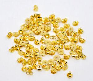 LOT 100 CLOUS DORES avec anneau SANS NICKEL fermoirs silicone BOUCLES D/'OREILLES