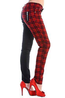 Coscienzioso Banned Check Rosso Nero Metà Gamba Split Pantaloni Jeans Pants Plus Taglia 18 20 22-mostra Il Titolo Originale Una Custodia Di Plastica è Compartimentata Per Lo Stoccaggio Sicuro
