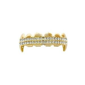14k Gold Plated Fang Grillz Two Row Upper Top Teeth Vampire Hip Hop Mouth Grills