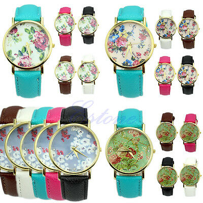 New Durable Geneva Leather Women's Rose Flower Watch Quartz Watches Useful