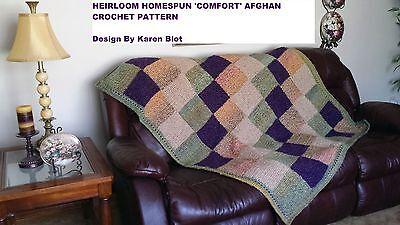 Crochet Pattern-HOMESPUN HEIRLOOM 'COZY COMFORT' AFGHAN  PATTERN **EASY/BEGINNER