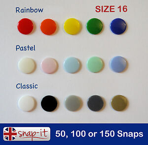 50-100-150-KAM-SNAPS-Size-16-15-COLOURS-Plastic-Poppers-Snap-Fastener