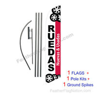 Ruedas Nuevas Y Usadas 15' Feather Banner Swooper Flag Kit With Pole+spike
