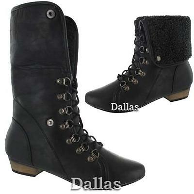 LADIES WOMENS COMBAT MILITARY BIKER FLAT LACE WORKER WINTER FUR ANKLE BOOTS SIZE