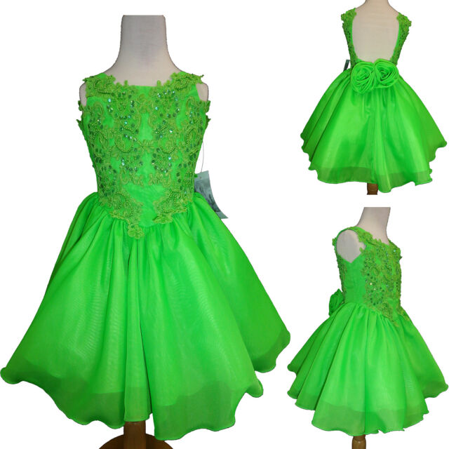 Infant Baby Toddler Girl Formal Dress Party Pageant Wedding Lime