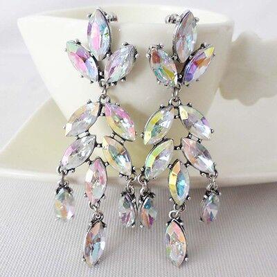 Luxurious Jewelry Flower Oval Dangle Clear Crystal Hang Silver Stud Earrings