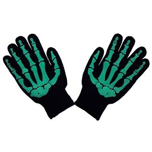Gothic-Horror-Punk-80s-Goth-Mens-Misfit-Green-Skeleton-Bones-Black-Work-Gloves