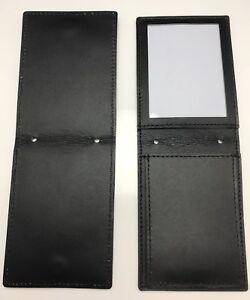 Leather Badge & ID Holder, Neck & Pocket Display, Police / Security, Black