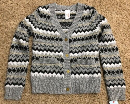 NWT Girls Gray Stripe Long Sleeve Cat /& Jack Button Cardigan Sweater Medium 7//8