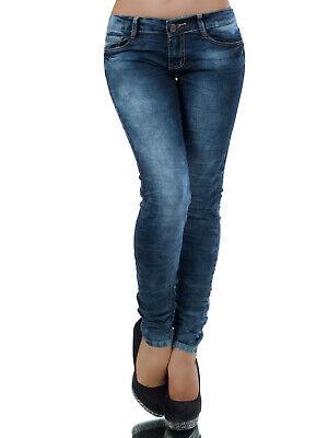 Trendy Jeans Skinny Donna Stonewashed Blu Pantaloni Tubo S M L 36 38 40 Nuovo-mostra Il Titolo Originale Buon Sapore