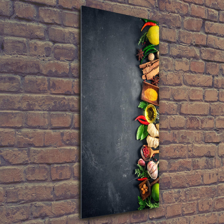 Wandbild Druck auf Plexiglas® Acryl Hochformat 50x125 Gewürze und Kräuter