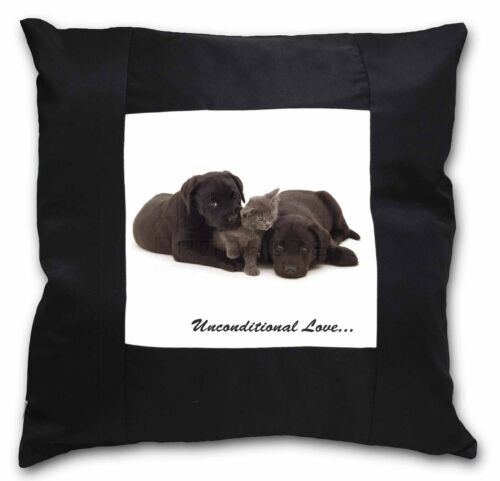 AD-L49u-CSB Black Labrador and Cat Black Border Satin Feel Cushion Cover With P