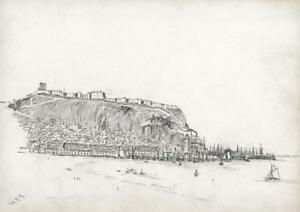 SCARBOROUGH CASTLE & HARBOUR Small Victorian Pencil Drawing c1880 SIGNED HCC