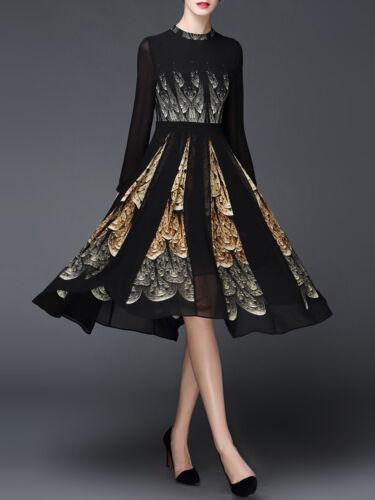 NWT GYALWANA Stand Collar Black Swing Elegant Printed Floral Party Midi Dress