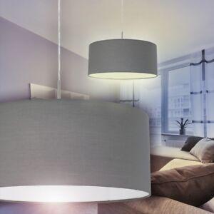 Stoffschirm Design Pendelleuchte Hangelampe Wohn Schlaf Ess Zimmer Kuche Grau Ebay