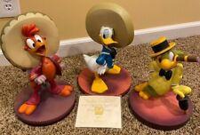 Lot 3 Disney Three Caballeros Amigo Donald Jose Figurines Big Fig COA Retired!!!