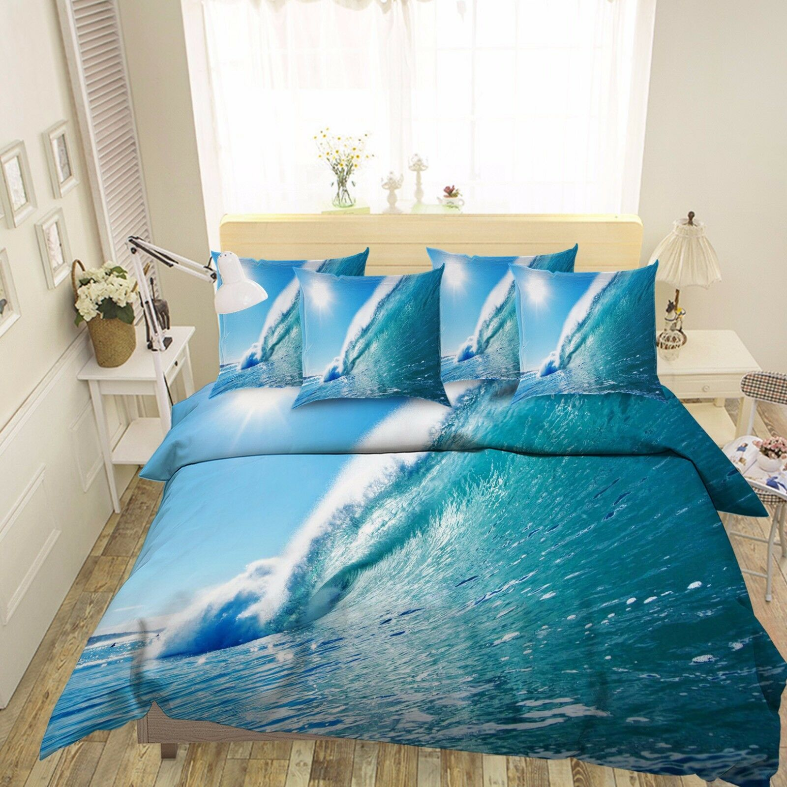 3D Sunshine Sea Waves 462 Bed Pillowcases Quilt Duvet Cover Set Single Queen CA