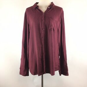 Maurices-Womens-Button-Down-Shirt-Size-XXL-Burgundy-Long-Sleeve-Blouse