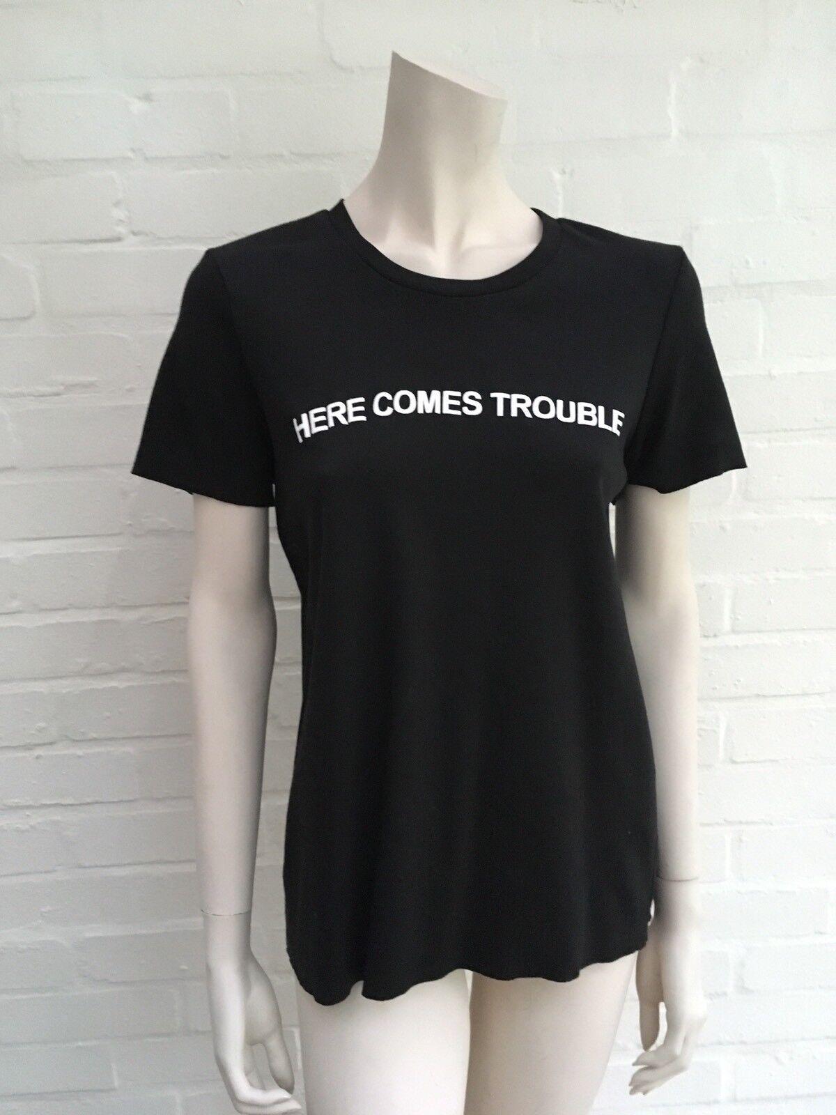 NATASHA ZINKO Here Comes Trouble schwarz T-shirt T shirt top Größe M MEDIUM