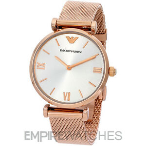 6bb09fe7244 NEW  EMPORIO ARMANI LADIES RETRO ROSE GOLD MESH WATCH - AR1956 - RRP ...