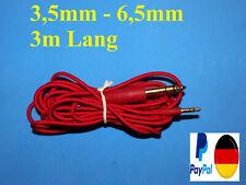 ORGINAL TEUFEL 3,5mm Klinke auf 6,3mm Kabel 3m gepanzert Audio Aux nur in Rot