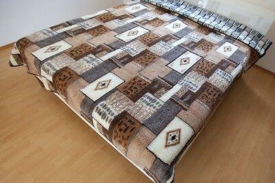 """Vorsichtig Bettüberwurf Wolldecke Schurwolle Decke """"pyramiden"""" 100% Merinowolle Bequem Und Einfach Zu Tragen Reiseaccessoires"""