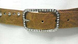 Women-Beige-Faux-Leather-Belt-Rhinestone-amp-Holes-With-Square-Buckle-31-034-38-034