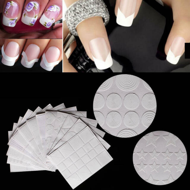 SM 12x Nail Art Guide Tips Hollow Stencils Sticker French Manicure ...