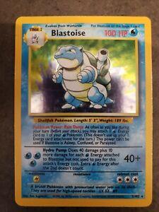 POKEMON Blastoise Base Set Rare Holographic Holo Card 2/102 1999 Great!