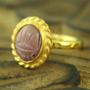 24K Gold Over 925K Sterling Silver Ring Handmade Hammered Band Ring With Dome Rose Cut Opalite Ancient Roman Art Designer Jewelry Dainty