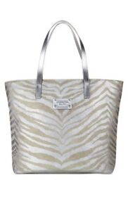 Michael Kors Silver Gold Animal Print Tote Bag Purse Shopping Travel ... f070a7f59a80d
