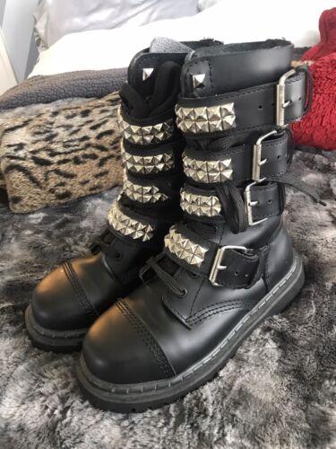 Black Goth Punk Demonia Studded Metal Combat Boots