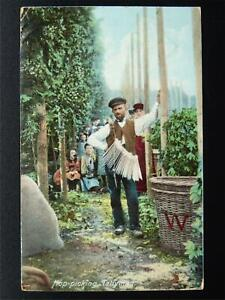 Hop-Picking-Theme-THE-TALLYMAN-WITH-HIS-TALLY-STICKS-c1906-Postcard-by-Hartmann