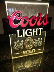 Vintage-Coors-Light-Fluorescent-Lighted-Beer-Bar-Sign-Neon-Silver-Bullet-Garage