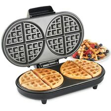 VonShef Round Waffle Maker Iron Machine 2 Slice Non Stick Compact Design 1200W
