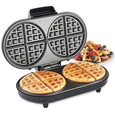 VonShef Round Waffle Maker Iron Machine 2 Slice Non Stick Compact Design 1200W