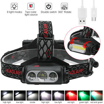 White//Red//Green Headlamp Light 3xLED Hunting Headlight USB Rechargeable 2X18650