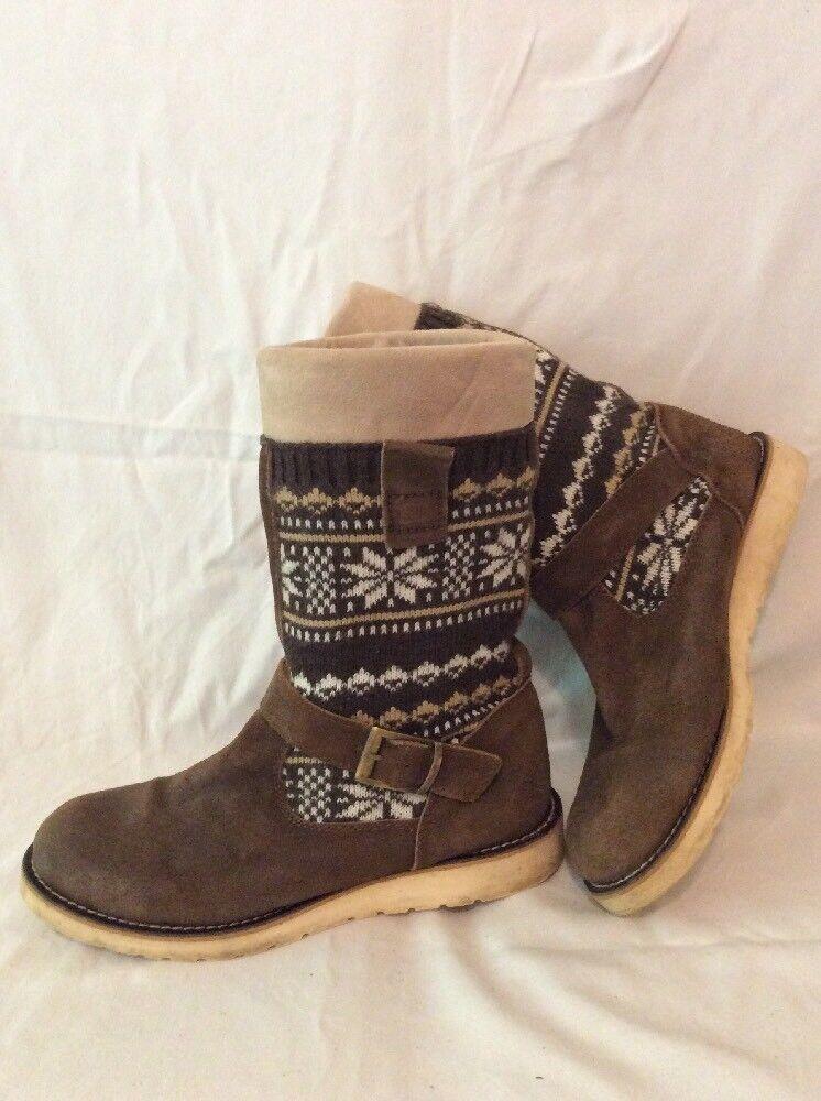 Bertie Brown Mid Calf Suede Boots Size 43
