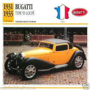 BUGATTI-TYPE-55-COUPE-1931-1933-CAR-VOITURE-FRANCE-CARTE-CARD-FICHE