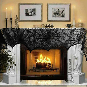 Halloween-Decorations-Props-Black-Lace-Spiderweb-Fireplace-Mantle-Scarf-Cover
