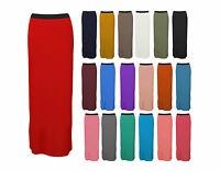 Womens Plain Maxi Gypsy Long Stretch Jersey Skirt Plus Size Dress Summer 8-14