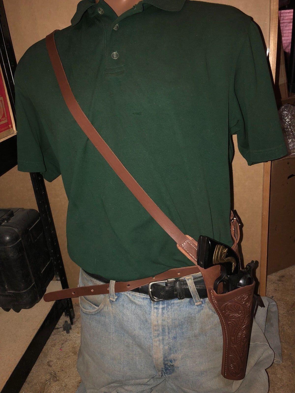 Leather Shoulder Sling Holster FIT Uberti Cattleman Cibrown Frontier 5.5  Barre
