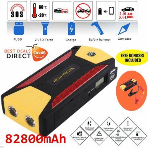 82800mAh Pack Car Jump Starter Emergency Charger Booster Power Bank Battery X@