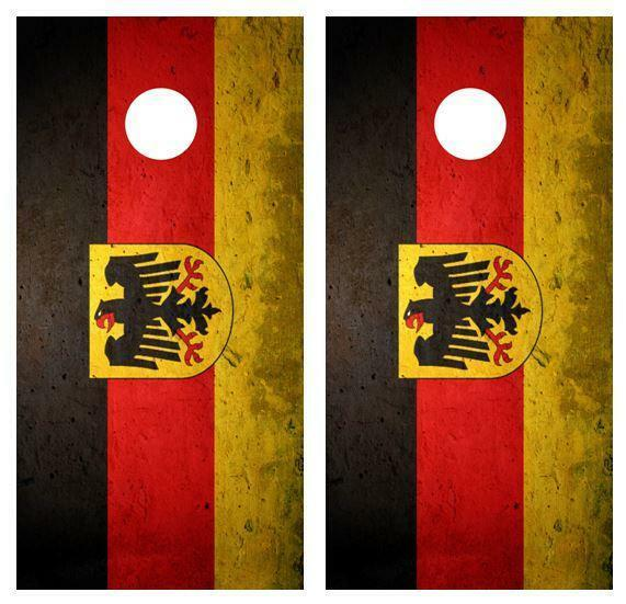 Grunge German Flag Cornhole Board Skin Wrap FREE SQUEEGEE