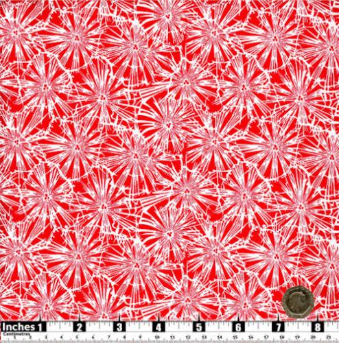 Quilting fabric Flores Blancas Fondo Rojo 100/% algodónGrasa QsRF21
