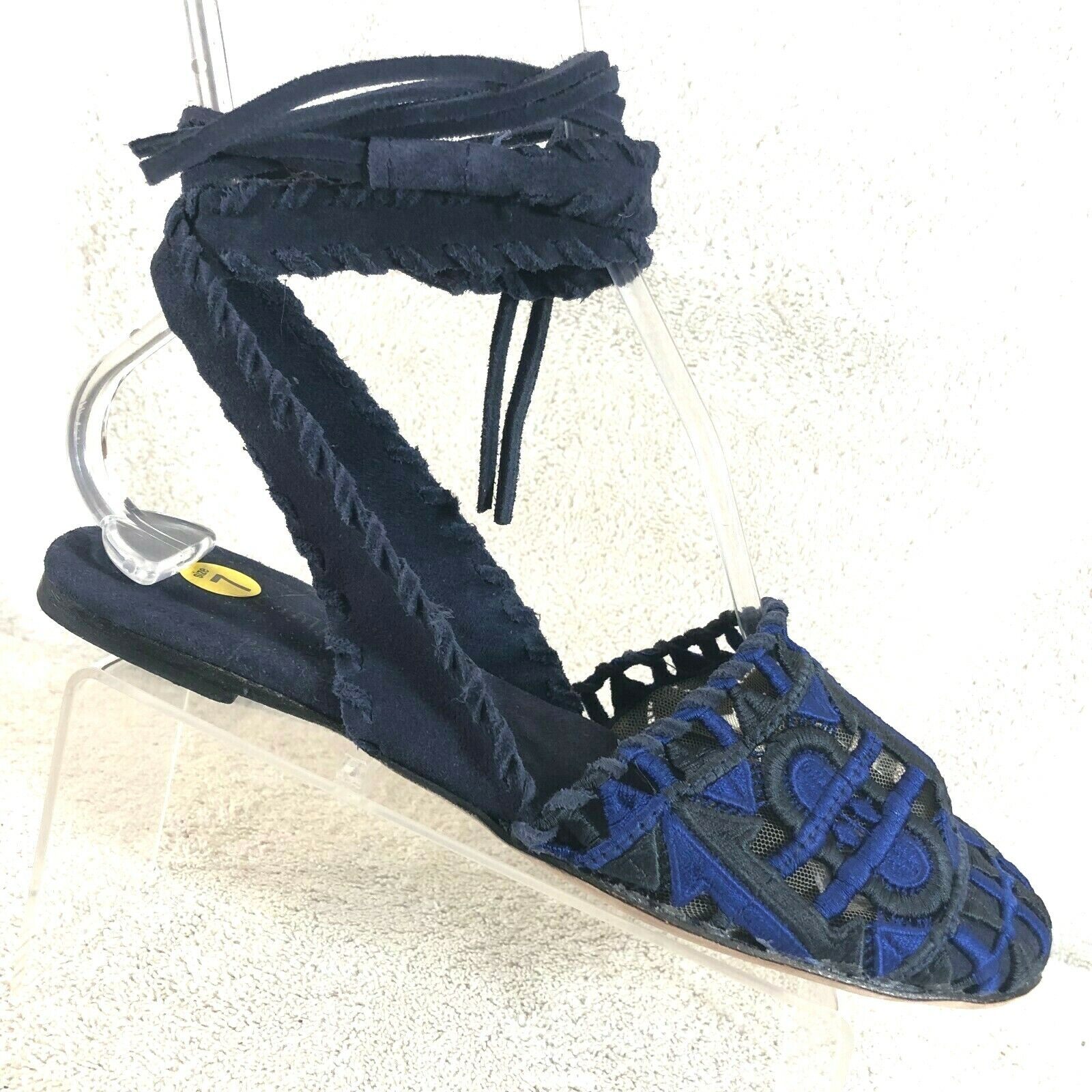 Jeffrey Campbell Navy Suede Embroider Lace Up Ballet Flats Women's Size 7