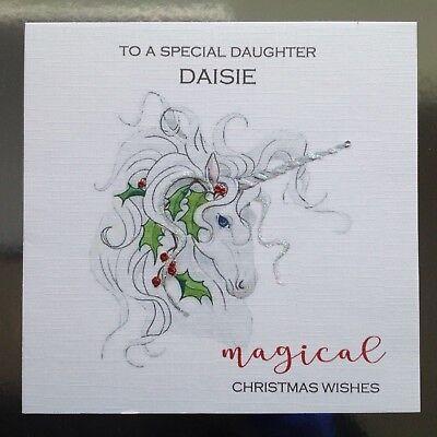 Granddaughter Christmas Card Festive Unicorn Design Christmas Card for Girl