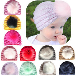 e6d8ae19d2d Newborn Baby Boy Girl Knitted Turban Pom Hat Winter Warm Beanie ...